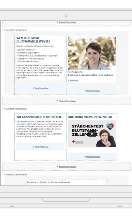 Drupal Backend mit Layout Builder mit intuitivem UI